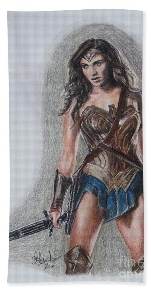 Wonder Woman Beach Towel featuring the drawing Wonder Woman by Christine Jepsen
