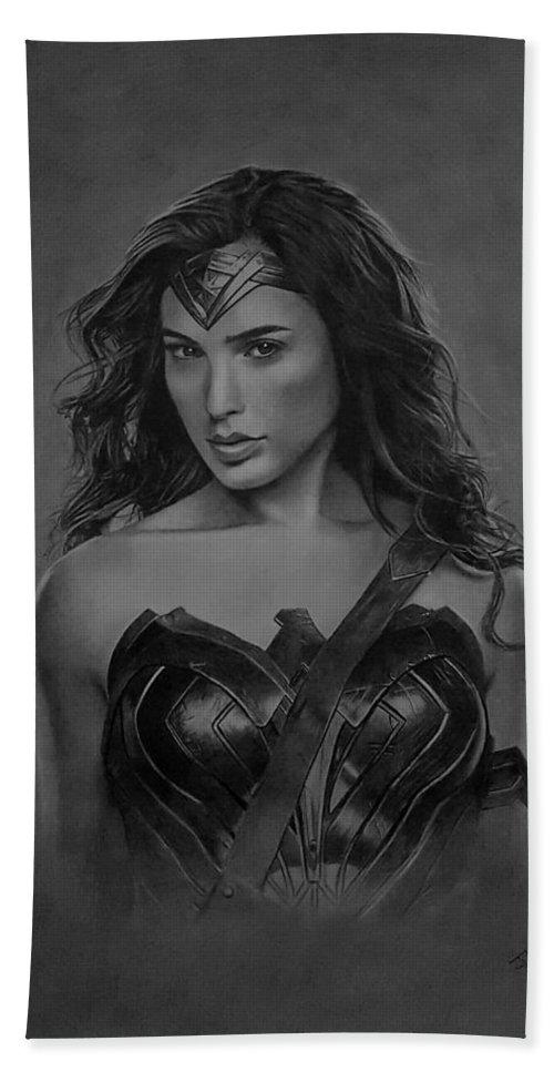 Wonder Woman Beach Towel featuring the drawing Wonder Woman by JPW Artist