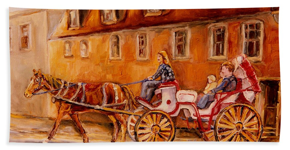 Quebec City Beach Towel featuring the painting Wonderful Carriage Ride by Carole Spandau
