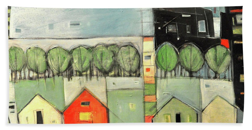 Houses Beach Towel featuring the painting Wont You Be My Neighbor by Tim Nyberg
