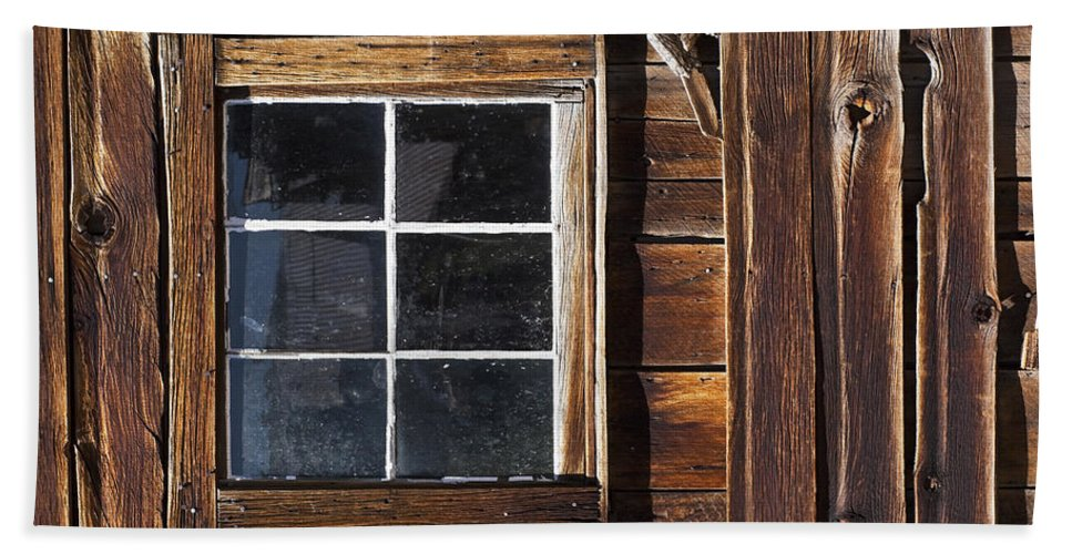 Bodie Ghost Town Beach Towel featuring the photograph Wood And Window by Kelley King