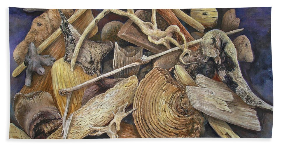 Driftwood Beach Towel featuring the painting Wood Creatures by Valerie Meotti