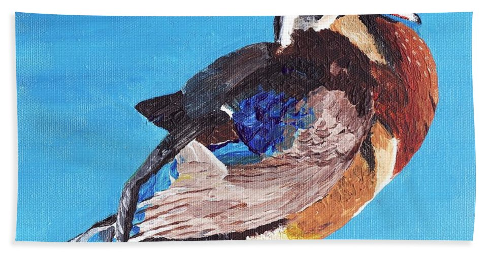 Ducks Beach Towel featuring the painting Wood Duck by Rodney Campbell
