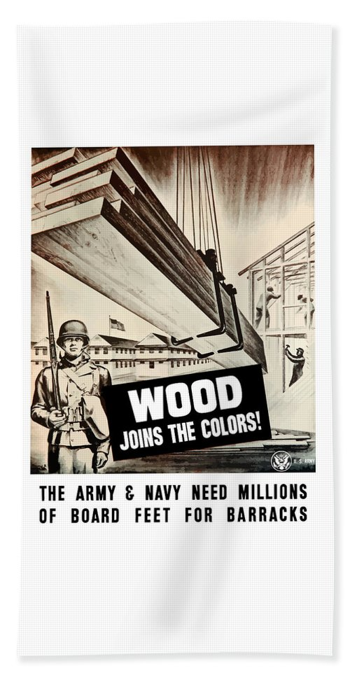 Ww2 Beach Towel featuring the painting Wood Joins The Colors - Ww2 by War Is Hell Store