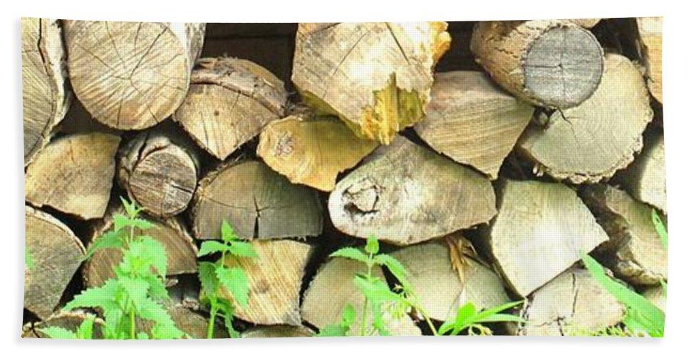 Wood Beach Sheet featuring the photograph Wood Pile by Ian MacDonald