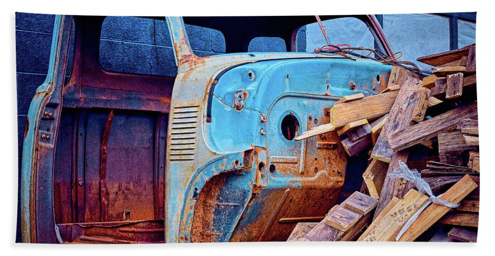 Truck Beach Towel featuring the photograph Wood Supply by Krinkled Leaves Photography