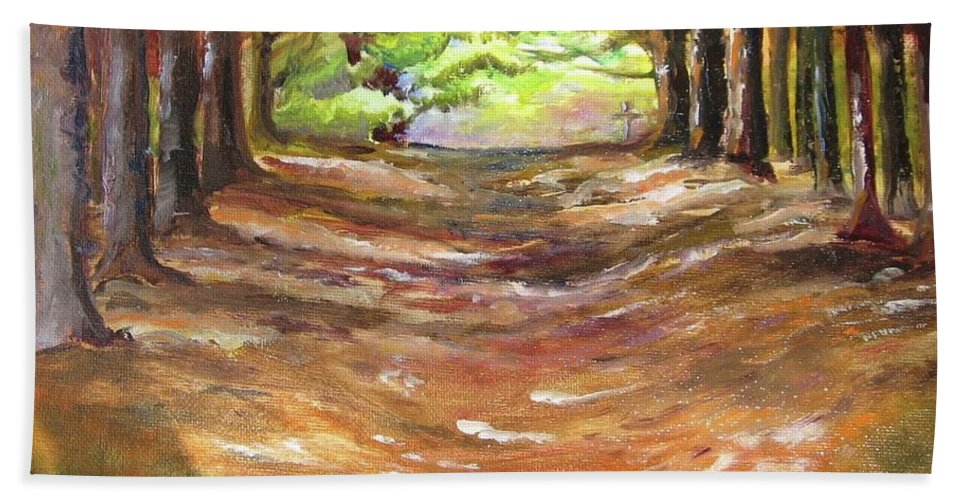 Wooded Sanctuary Beach Towel featuring the painting Wooded Sanctuary by Jan Harvey