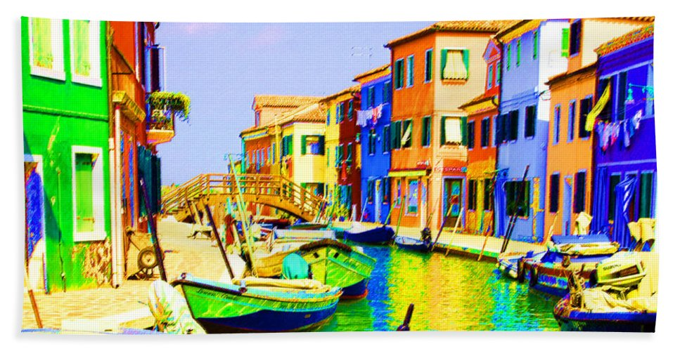 Burano Beach Towel featuring the pastel Wooden Bridge To Despar by Donna Corless