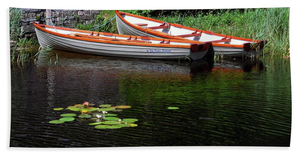 2 Wooden Rowboats Beach Towel featuring the photograph Wooden Rowboats by Sally Weigand