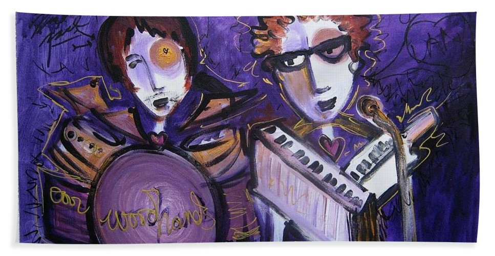 Laurie Maves Art Beach Towel featuring the painting Woodhands At Monolith by Laurie Maves ART