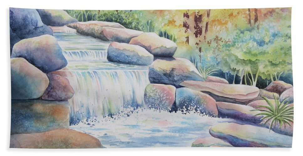 Waterfall Beach Towel featuring the painting Woodland Falls by Deborah Ronglien