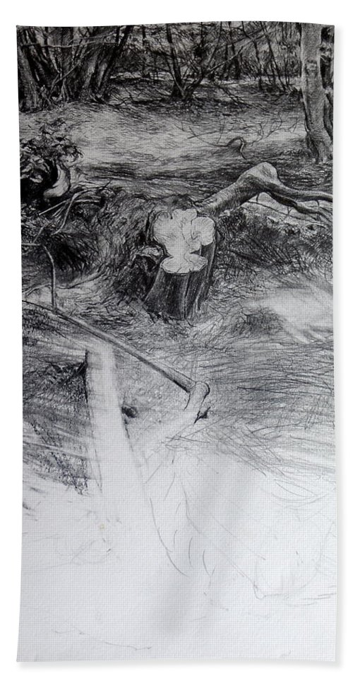 Woodland Beach Towel featuring the drawing Woodland by Harry Robertson