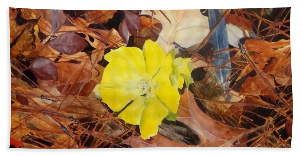 Woods Beach Towel featuring the painting Woodland Surprise by Jean Blackmer