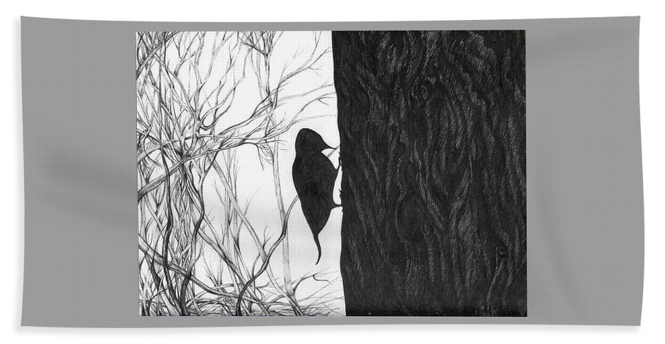 Pen And Ink Beach Towel featuring the drawing Woodpecker by Anna Duyunova