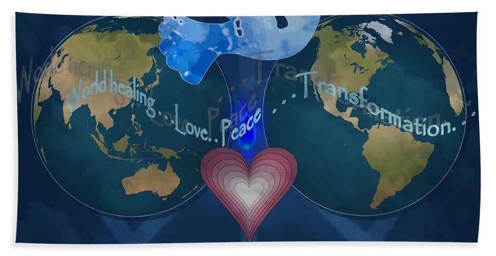 World Beach Towel featuring the photograph World Healing Inspirational by Bobbee Rickard