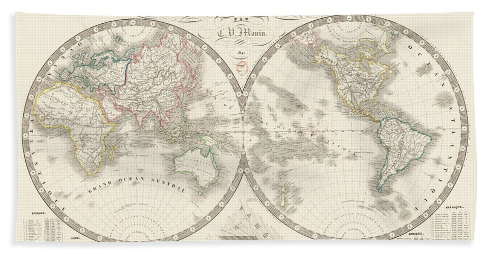 Beach Towel featuring the mixed media World Map - 1842 by Art Makes Happy