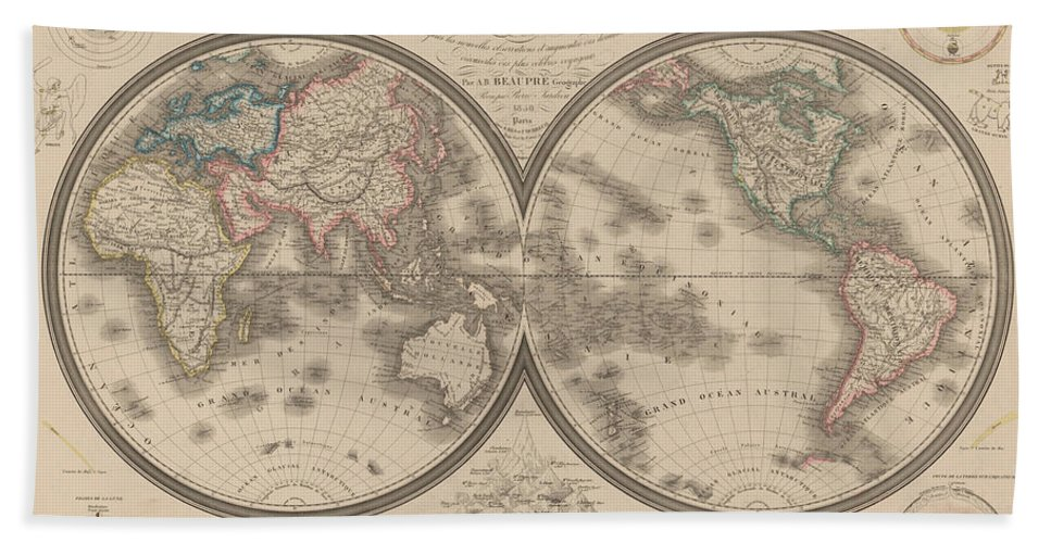 World Map Beach Towel featuring the mixed media World Map Divided Into Two Hemispheres by Art Makes Happy