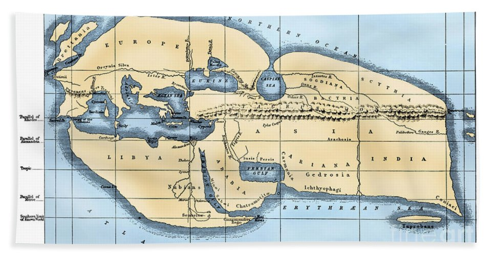 2nd Century B.c Beach Towel featuring the photograph World Map: Eratosthenes by Granger