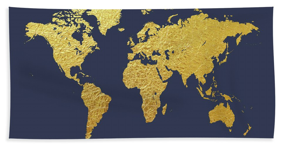 World map gold foil beach towel for sale by michael tompsett world map beach towel featuring the digital art world map gold foil by michael tompsett gumiabroncs Choice Image
