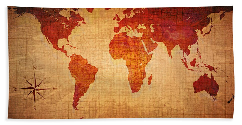 World Beach Sheet featuring the photograph World Map Grunge Style by Johan Swanepoel