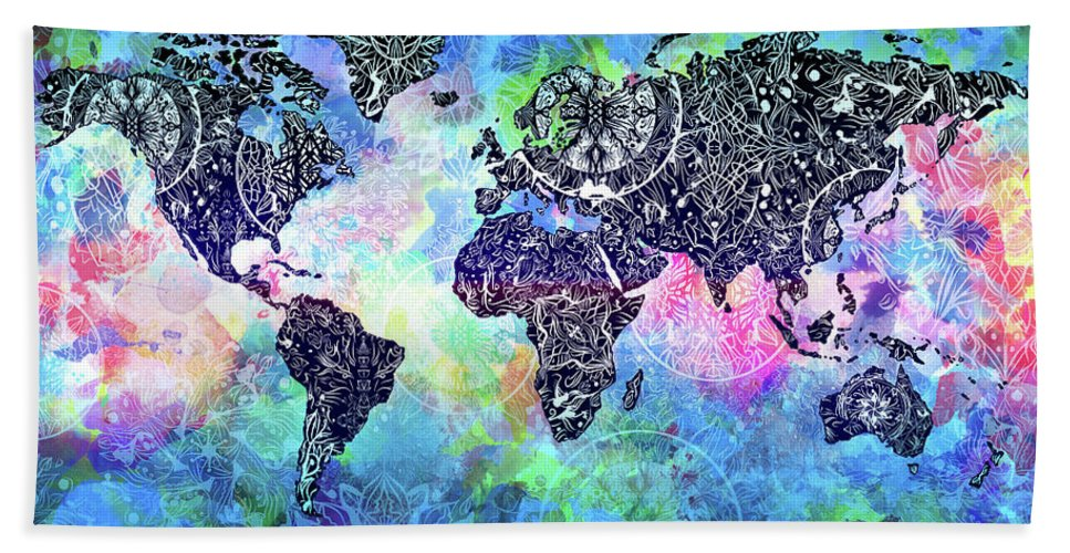 World Map Mandala Watercolor Beach Towel For Sale By Bekim Art - Mandala map of the world