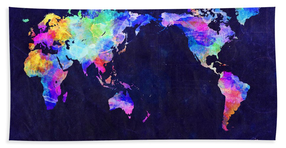 Urban Watercolor World Map.World Map Urban Watercolor Pacific Beach Towel For Sale By Michael
