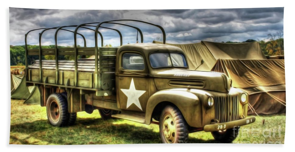Army Beach Towel featuring the photograph World War II Army Truck by Roy Branson