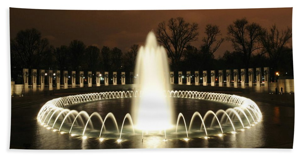 World War Ii Beach Towel featuring the photograph World War II Memorial At Night by Richard Bryce and Family