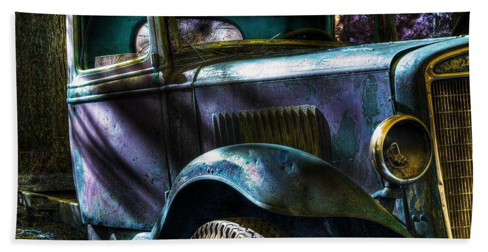 Digital Fantasy Beach Towel featuring the photograph Wrecking Yard Fantasy by Lee Santa