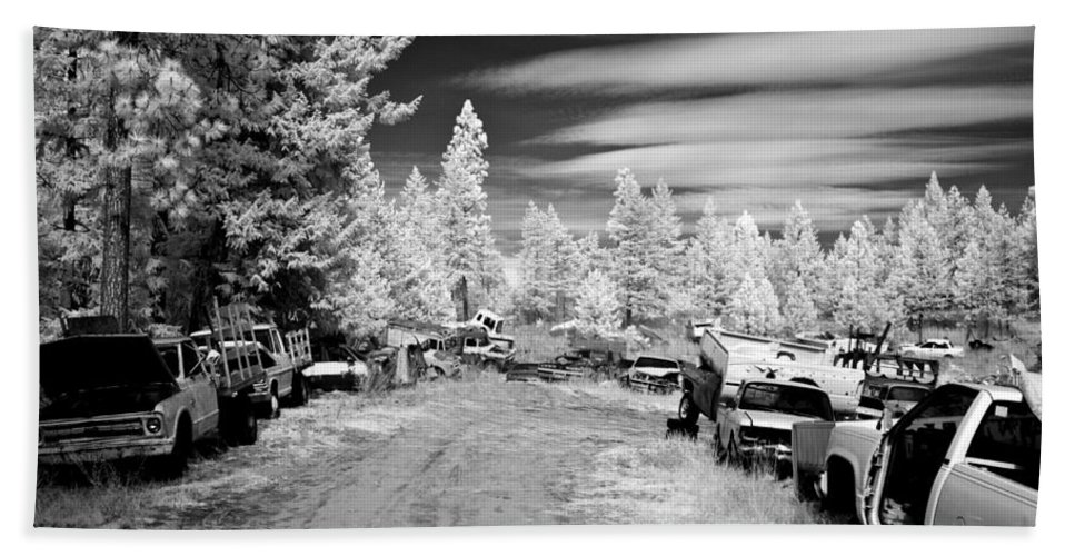 B&w Beach Towel featuring the photograph Wrecking Yard In Infrared 3 by Lee Santa