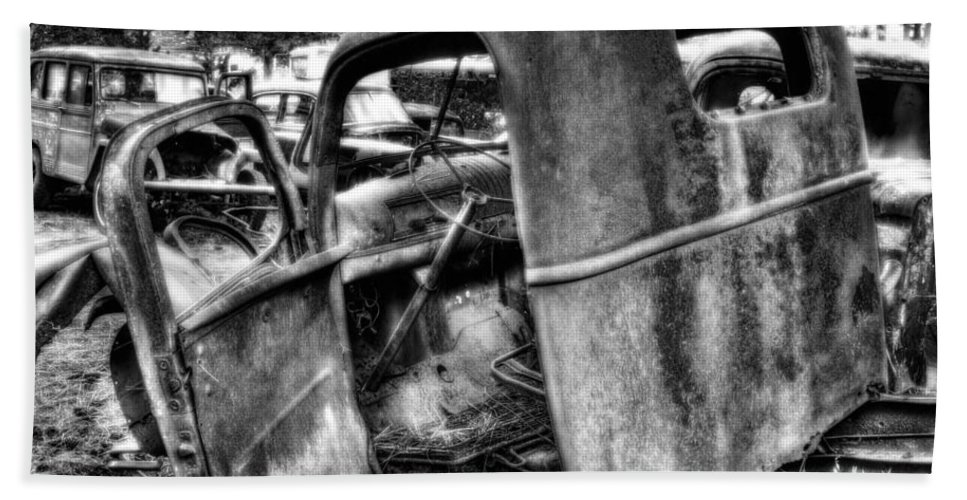 Beach Towel featuring the photograph Wrecking Yard Study 11 by Lee Santa