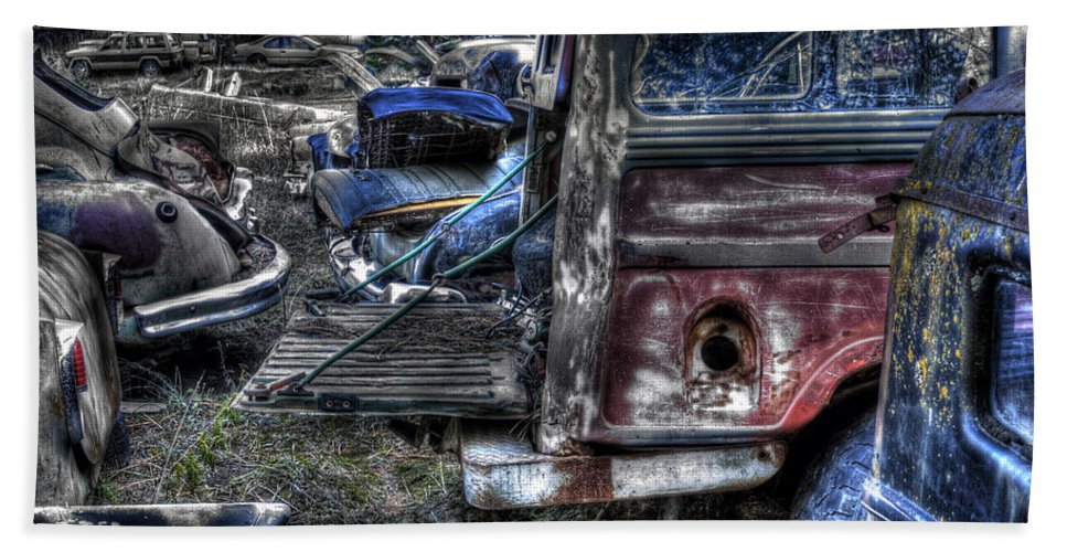 Automotive Beach Towel featuring the photograph Wrecking Yard Study 13 by Lee Santa