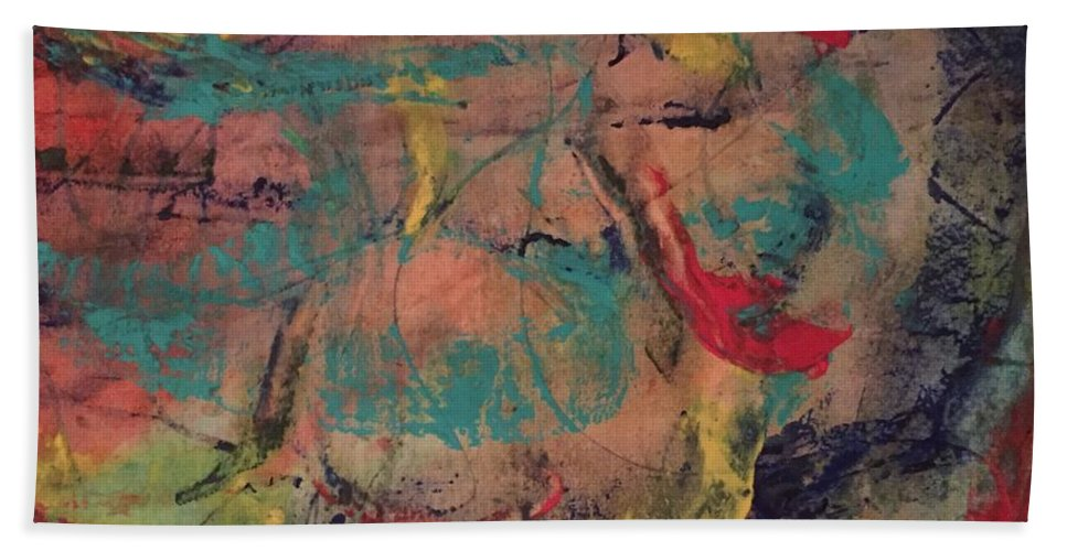 Abstract Beach Towel featuring the painting Writing On The Wall by Stephanie Farina