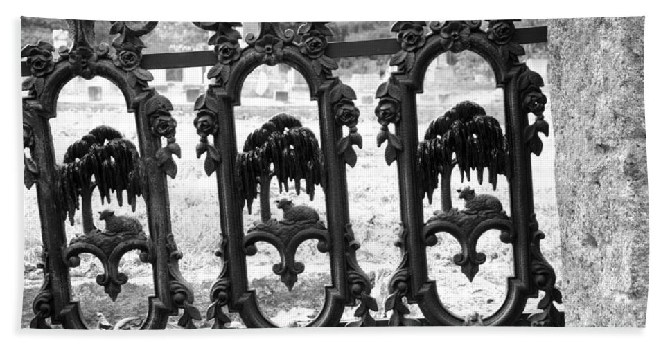 Gate Beach Sheet featuring the photograph Wrought Iron Gate -west Epping Nh Usa by Erin Paul Donovan