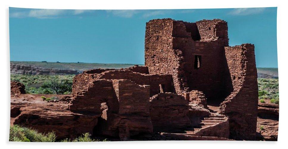 Wukoki Beach Towel featuring the photograph Wukoki Pueblo Ruins Wupatki National Monument by NaturesPix