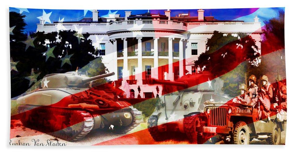 #ww2 #worldwar2 Beach Towel featuring the digital art Ww2 Usa White House by Ruahan Van Staden