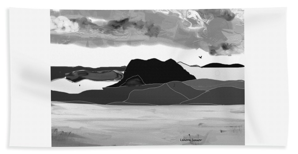 Abstract Beach Towel featuring the mixed media Wyoming Landscape 3 - B-w by Lenore Senior