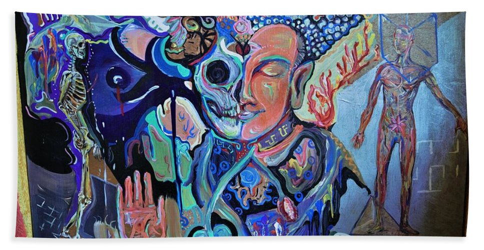 Buddha Beach Towel featuring the painting x-Ray Buddha by Sergio Jimenez Molina