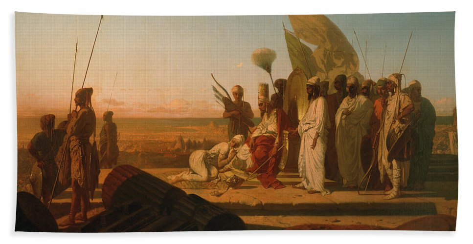 Xerxes At The Hellespont (oil On Canvas) By Jean Adrien Guignet (1816-54) Beach Towel featuring the painting Xerxes At The Hellespont by Jean Adrien Guignet