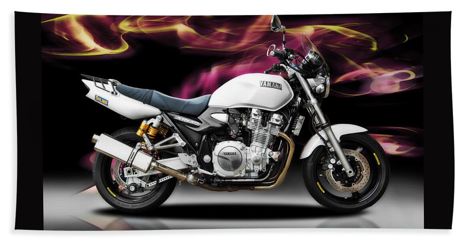 Motorcycles Framed Prints Beach Towel featuring the photograph Yamaha by Carl Shellis