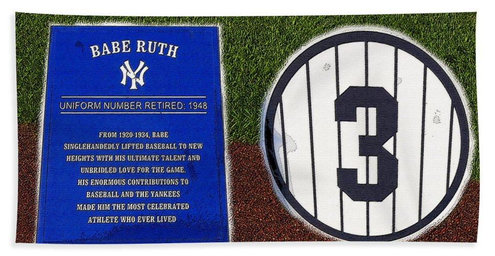 Art Beach Towel featuring the painting Yankee Legends number 3 by David Lee Thompson