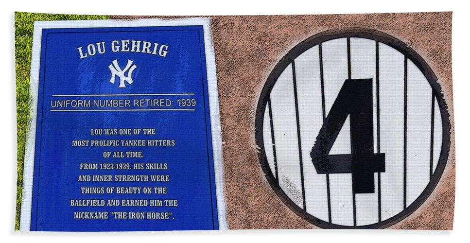 Art Beach Towel featuring the painting Yankee Legends Number 4 by David Lee Thompson