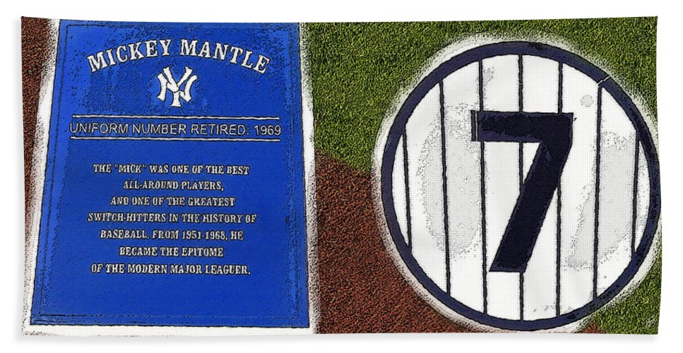 Art Beach Towel featuring the painting Yankee Legends Number 7 by David Lee Thompson
