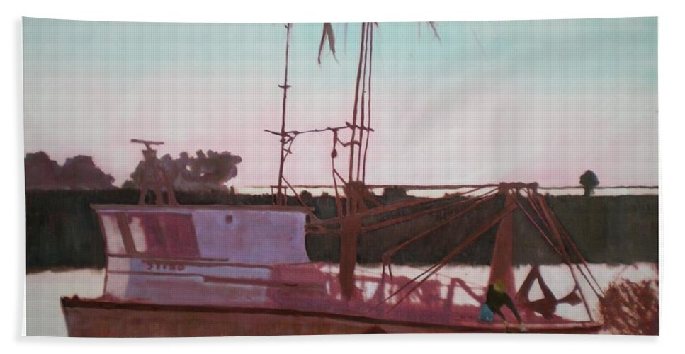 Seascape Beach Towel featuring the digital art Yankee Town Fishing Boat by Hal Newhouser