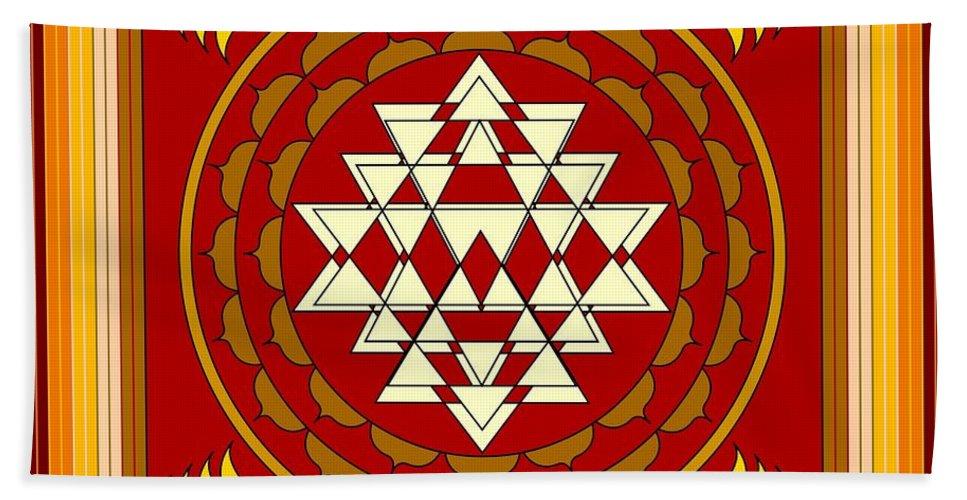 Mandalas Beach Towel featuring the digital art Yantra Meditation by Mario Carini