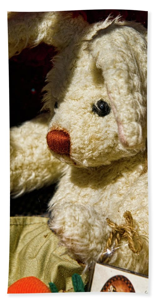 Bunny Beach Towel featuring the photograph Yard Sale Bunny by Christopher Holmes