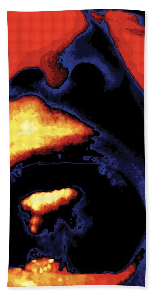 Abstract Beach Sheet featuring the digital art Yeller, No. 1 by James Kramer