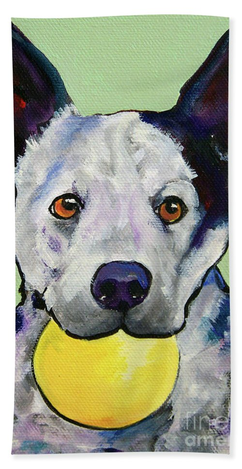 Australian Cattle Dog Beach Towel featuring the painting Yellow Ball by Pat Saunders-White