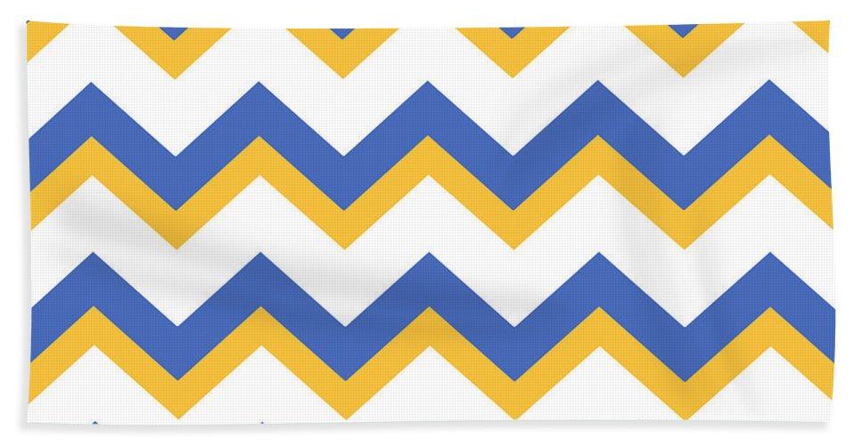 Chevron Pattern Beach Towel featuring the mixed media Yellow Blue Chevron Pattern by Christina Rollo
