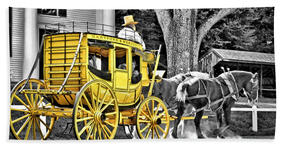 Old Beach Towel featuring the photograph Yellow Carriage by Evelina Kremsdorf